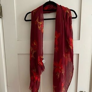 J Crew red floral scarf.